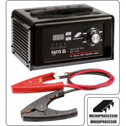 Battery charger 12V 15A DC / DC 24V 7.5A with 75AMP digital, start function YATO YT-83051