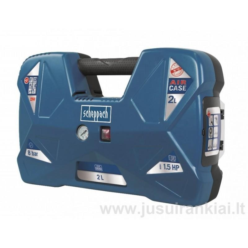 SCHEPPACH AIR CASE oil free, oro kompresorius mobilus 2 L.
