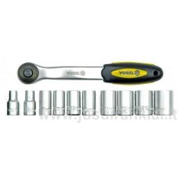 Galvučių rinkinys 10-24mm. su rankena Cr-V VOREL 58602