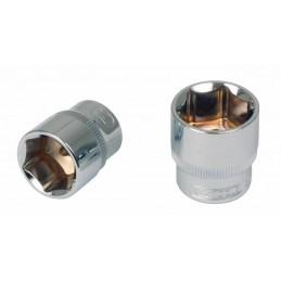Šešiakampė galvutė 1/4´´ 14mm CHROME+, KS tools