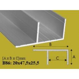 Profilis 20x47,50mm. L-200cm. aliuminis EFFECTOR F B86