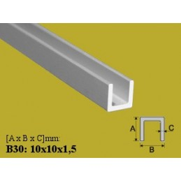 Profilis 10x10x1,5mm. L-200cm. aliuminis EFFECTOR U B30