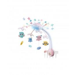 Naktinė lempa ir lovelės varpeliai kūdikiams rožinė OC126