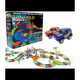 Žaislinė lenktynių trasa su šviečiančia mašinėle (360 det.)