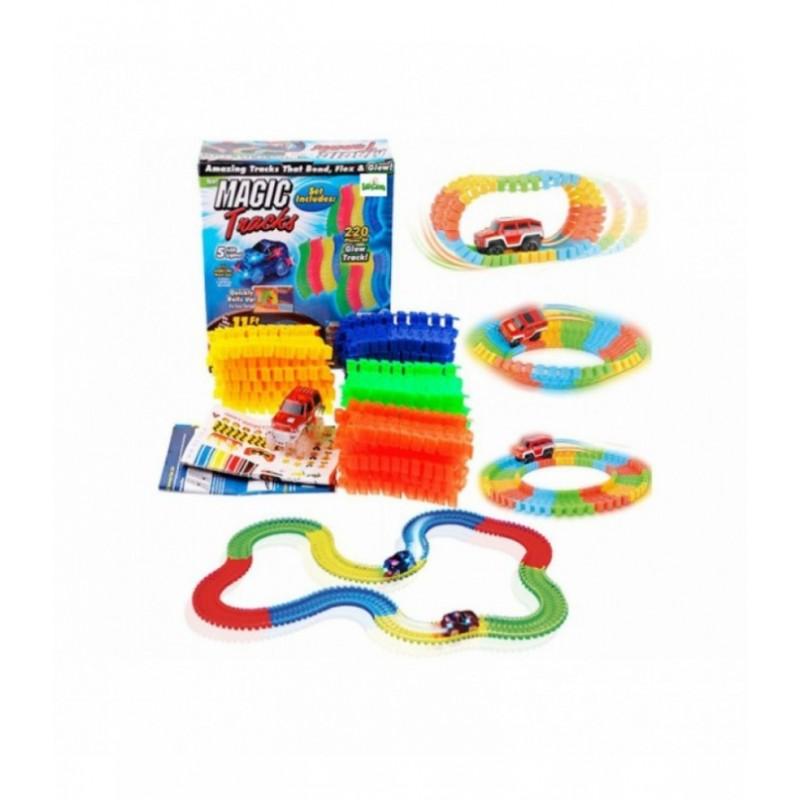 Žaislinė lenktynių trasa su šviečiančia mašinėle (220 det.) 2540B