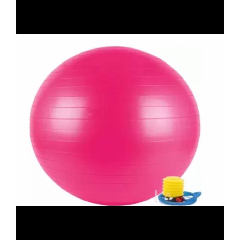 Rožinis gimnastikos kamuolys su pompa 75 cm. L20076