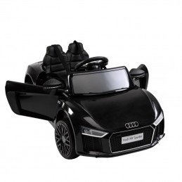 Naujausias licencijuotas juodas elektromobilis AUDI R8 (WDHL1818)
