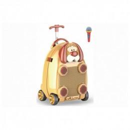 Vaikiškas lagaminas - kolonėlė su mikrofonu, ratukais ir rankena